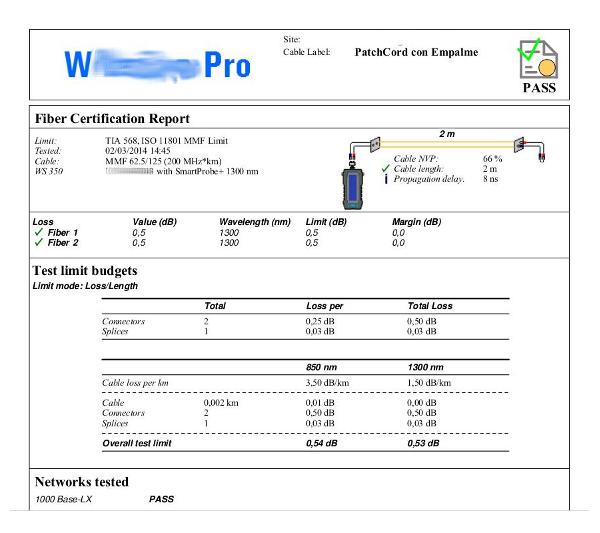Reporte de Certificación