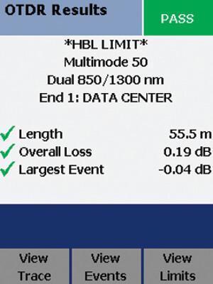 """Figura 21 – Pantalla """"Pasa"""" en el OTDR Compacto del DTX"""