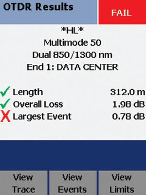"""Figura 22 – Pantalla """"Falla"""" en el OTDR Compacto del DTX"""