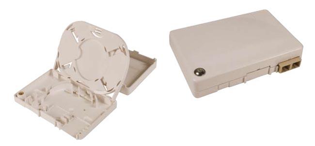 Caja tipo roseta para fibra óptica