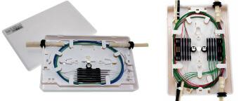 Cajas para empalme y distribución de fibras ópticas