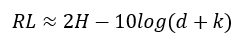 Si H es mayor a 5 dB, se puede usar la siguiente expresión simplificada
