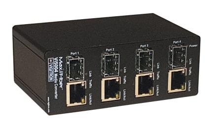 Vi50004 Conversor de fibra óptica a UTP de cuatro puertos