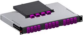 400GBASE-SR8 Panel PreCONNECT® SMAP-G2 HD 19'' 1 HU 3/3, con 144 puertos (36 adaptadores 4xMDC) dentro del campo de parcheo, 2 interfaces PreCONNECT® SEDECIM MTP 16F por plano posterior.